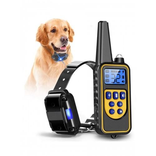 Suņu dresūras - treniņu siksna ar elektro impulsu, pulti un LCD ekrānu, uzlādējama un mitrumizturīga, 800m