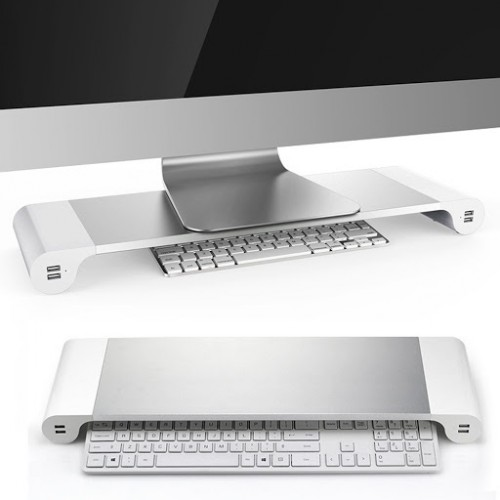Monitoru plaukts ALUMINIUM SPACE BAR ar 4 USB lādešanas izejam